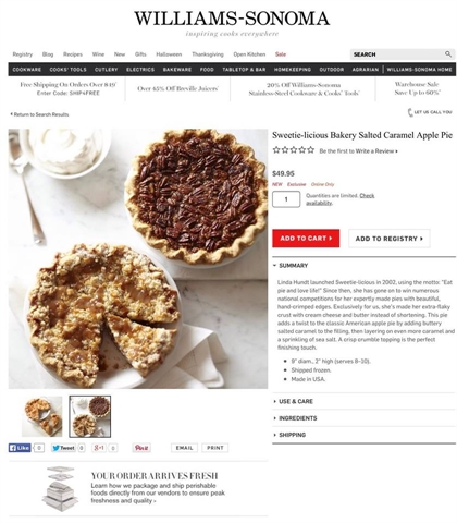 Williams-Sonoma & Sweetie-licious Pies